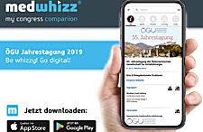 Laden Sie sich schon jetzt die MedWhizz Kongress-App herunter und stecken Sie das ÖGU-Programm in die Tasche!